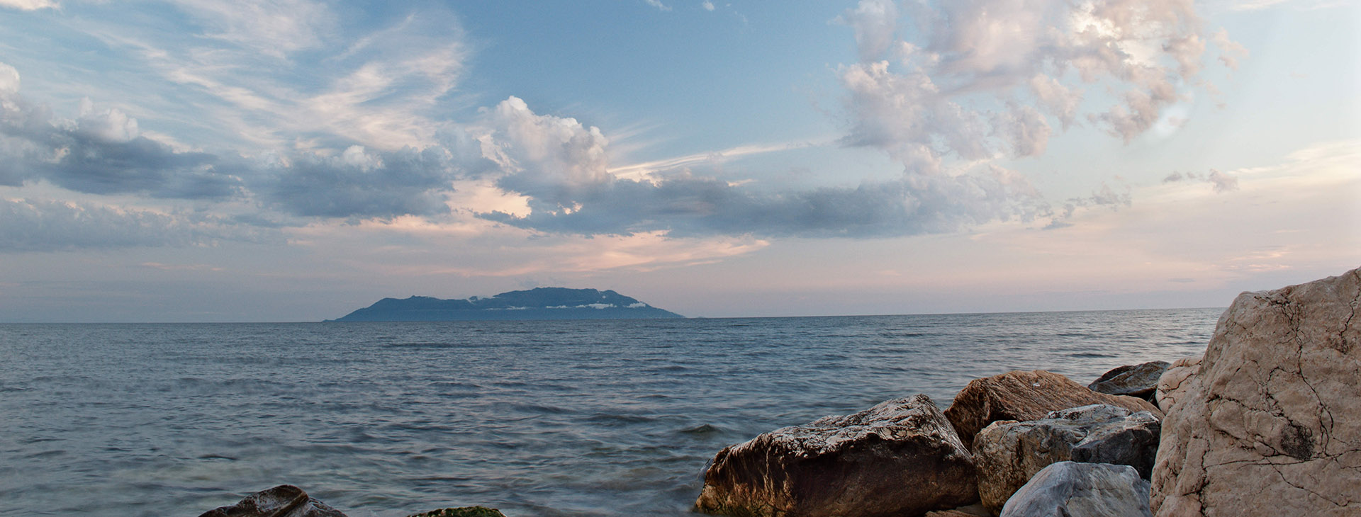 View of Samothrace island from Alexandroupolis coast