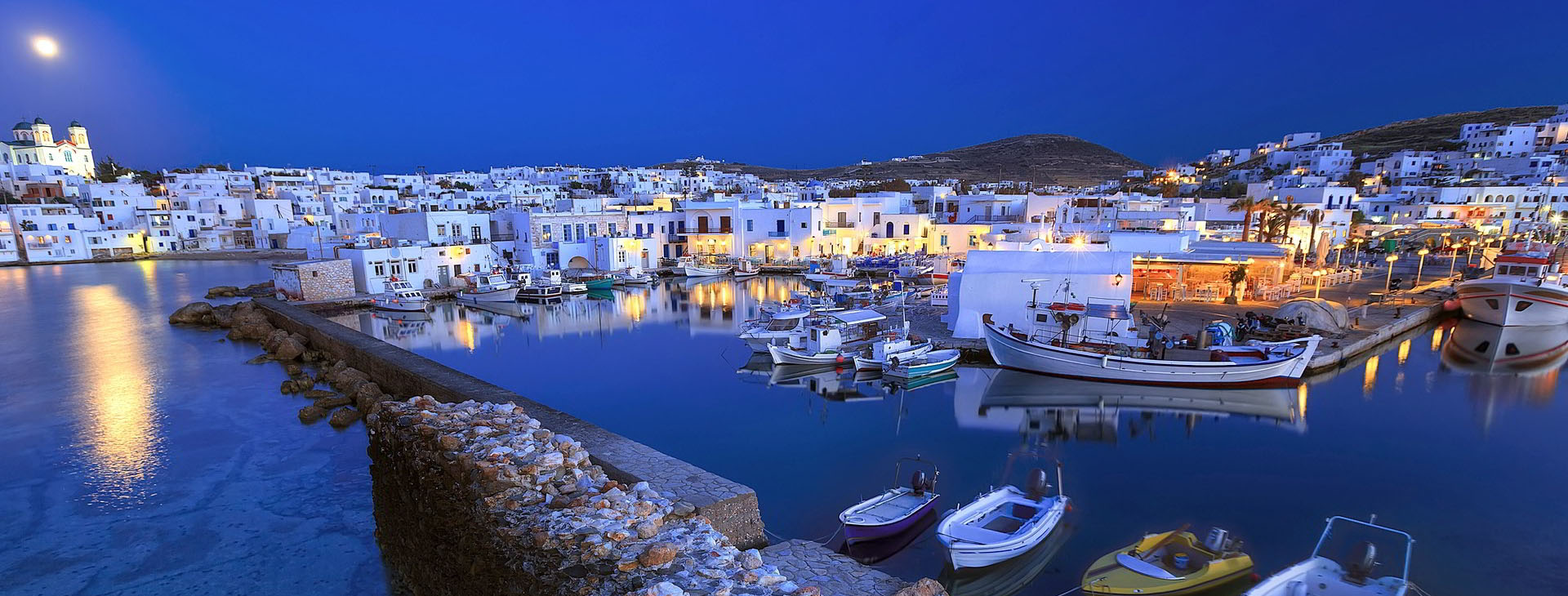 Naousa town at Paros island by night