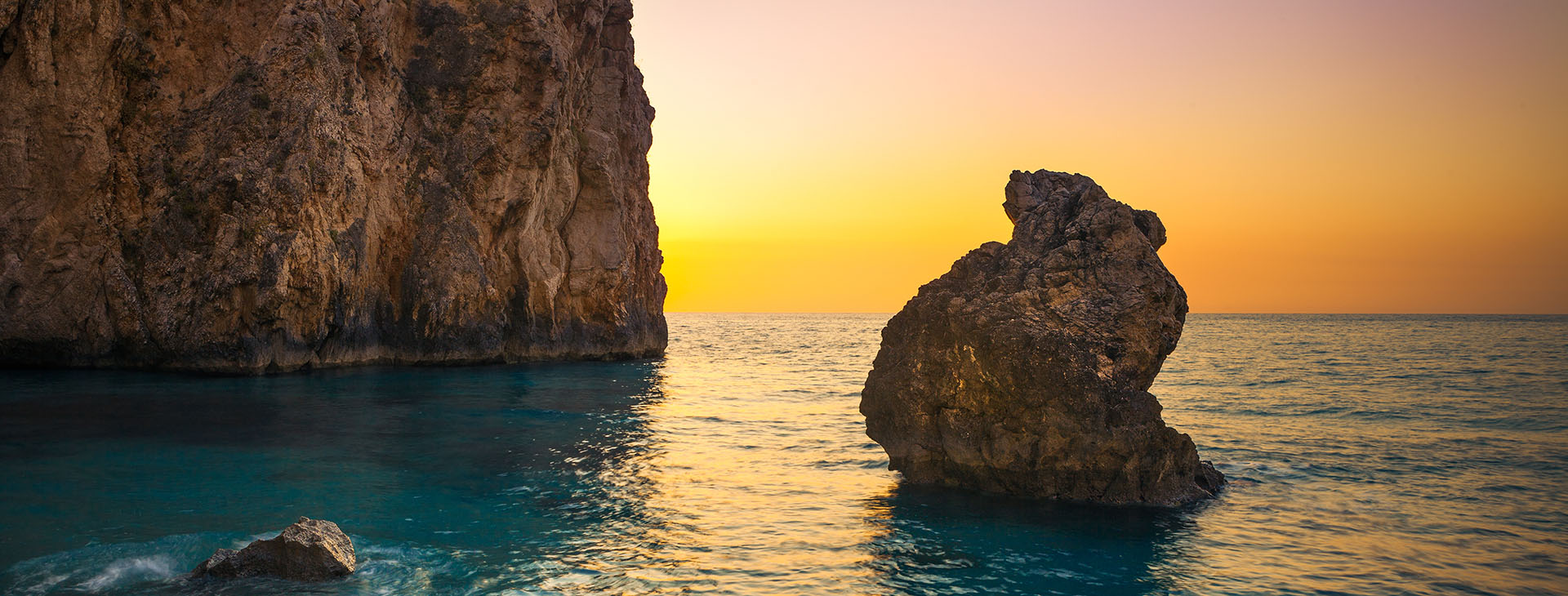 Sunset at Milos beach on Lefkada island