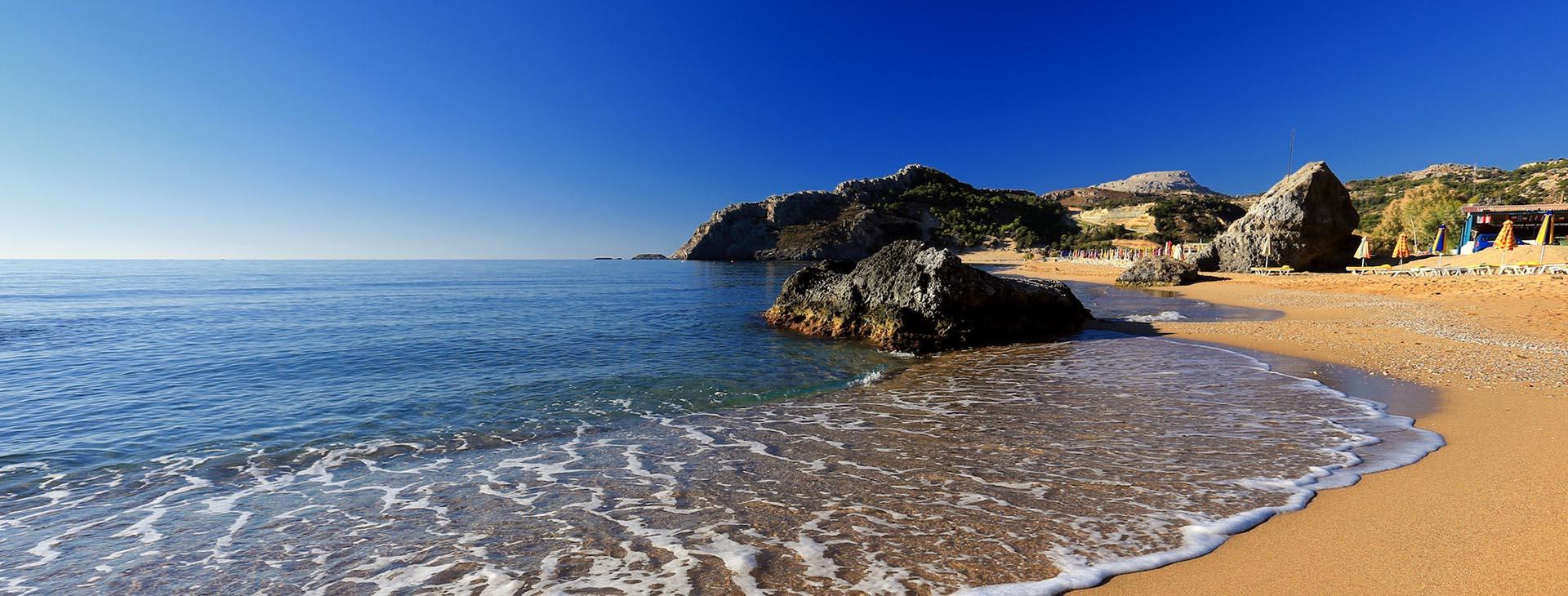 Tsambica sandy beach at Rhodes island