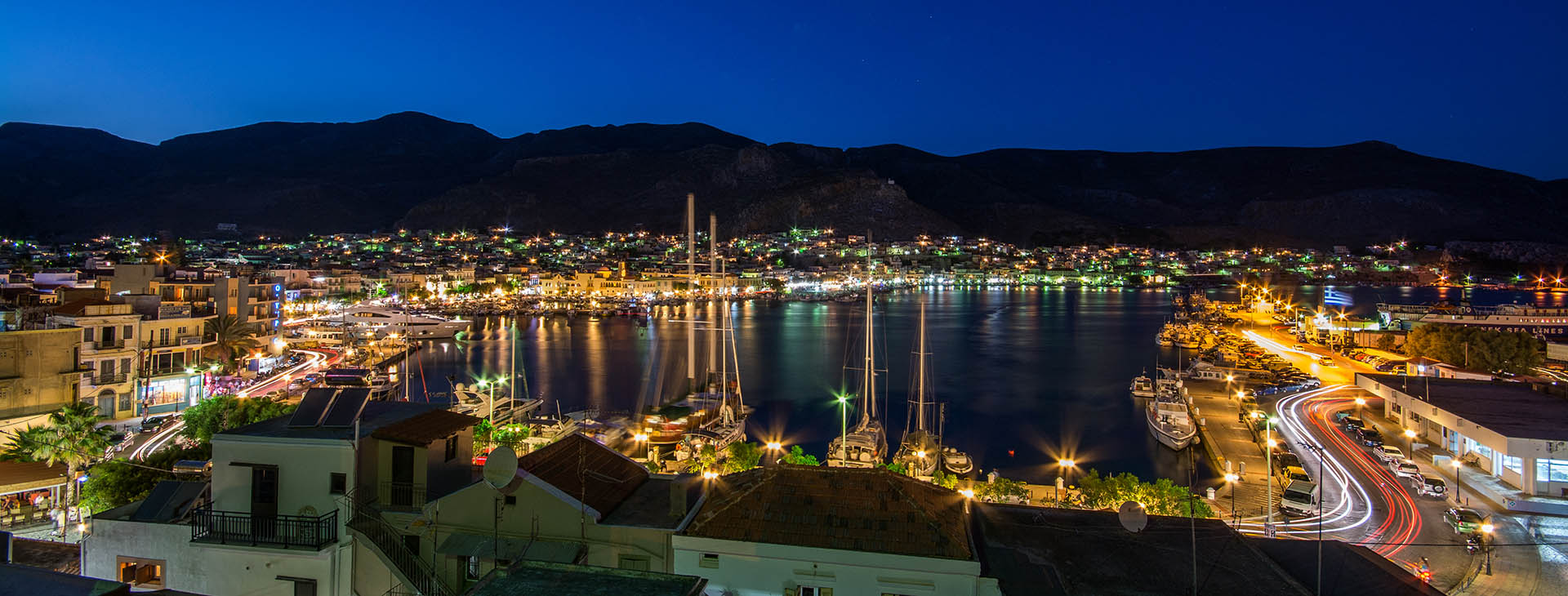 Kalimnos harbour by night