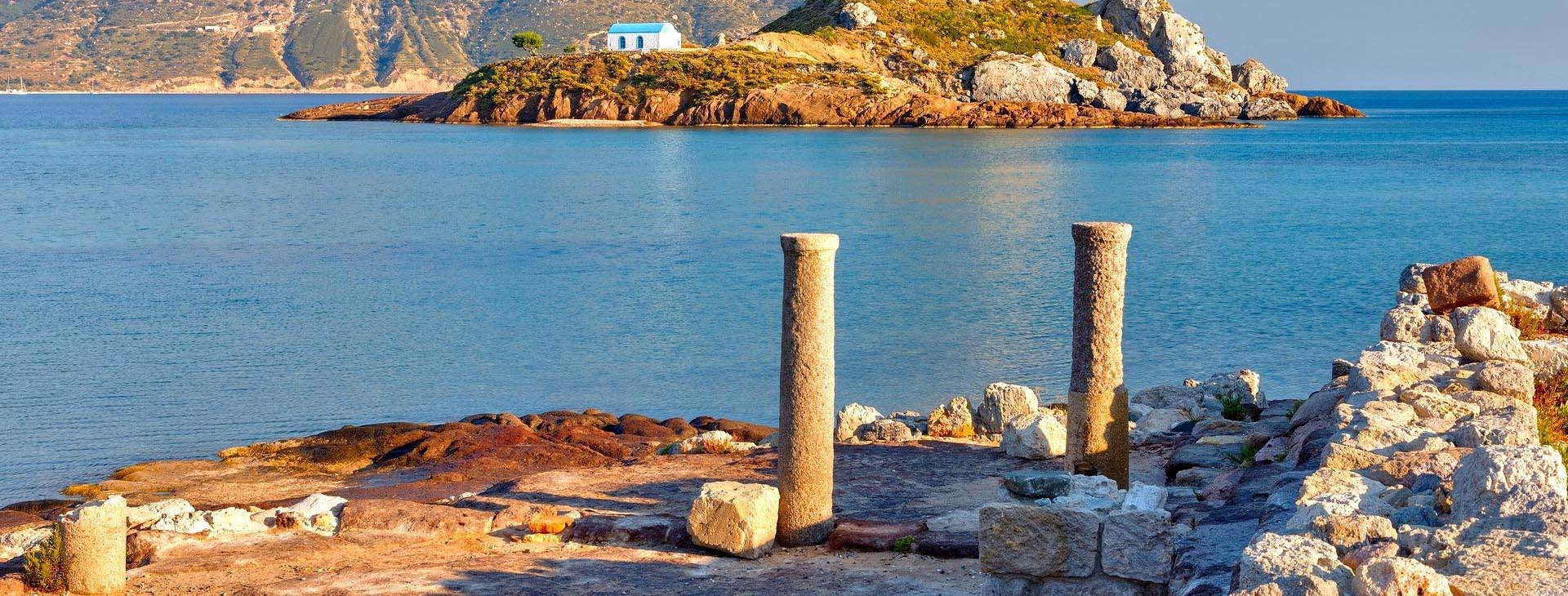 Kastri island and ancient ruins on Kos island