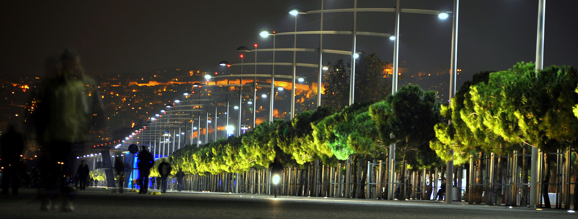 Seafront of Thessaloniki City by night