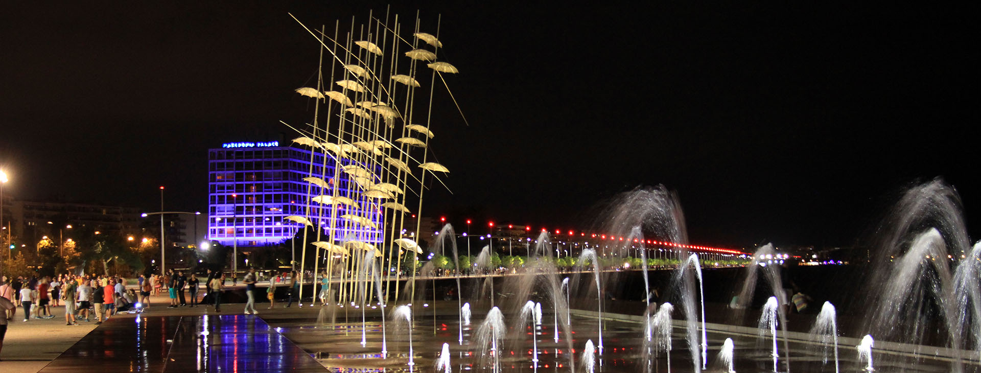 """Umbrellas"" modern art statue by night, seafront of Thessaloniki City"