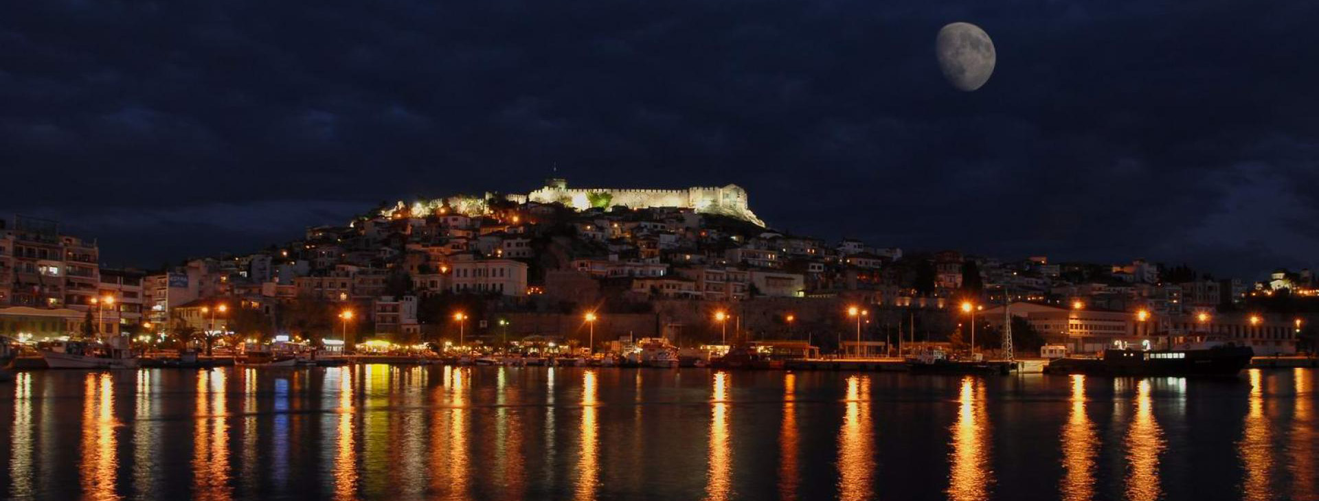 Castle of Kavala and old town by night