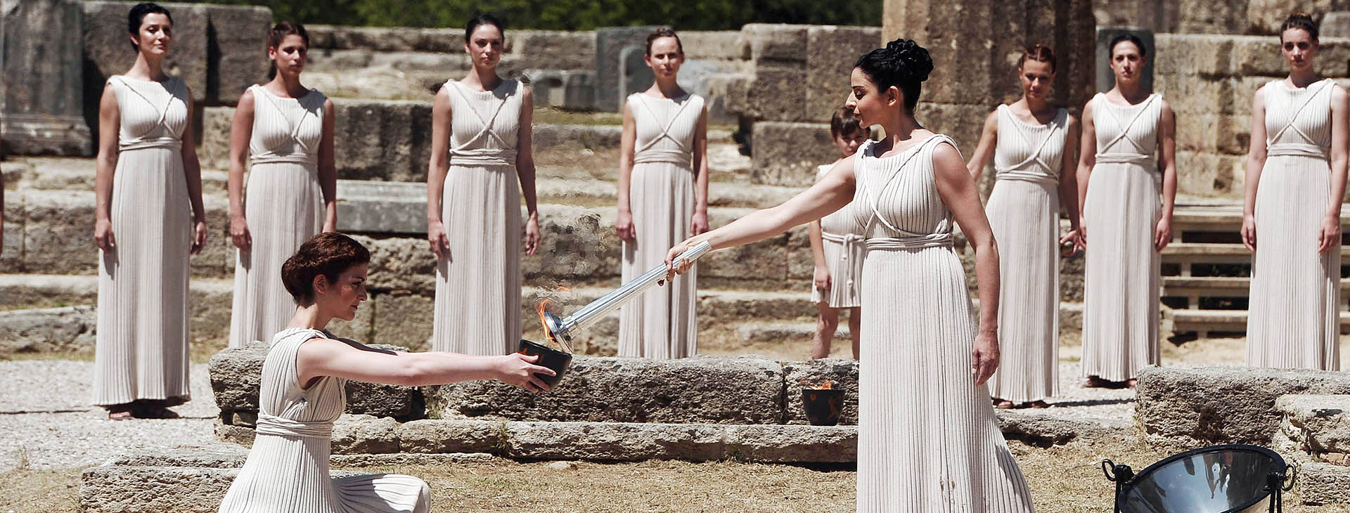 Lighting the Olympic flame in Ancient Olympia