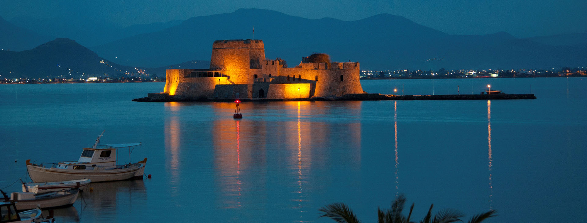 Bourtzi at Nafplion port by night, Argolida