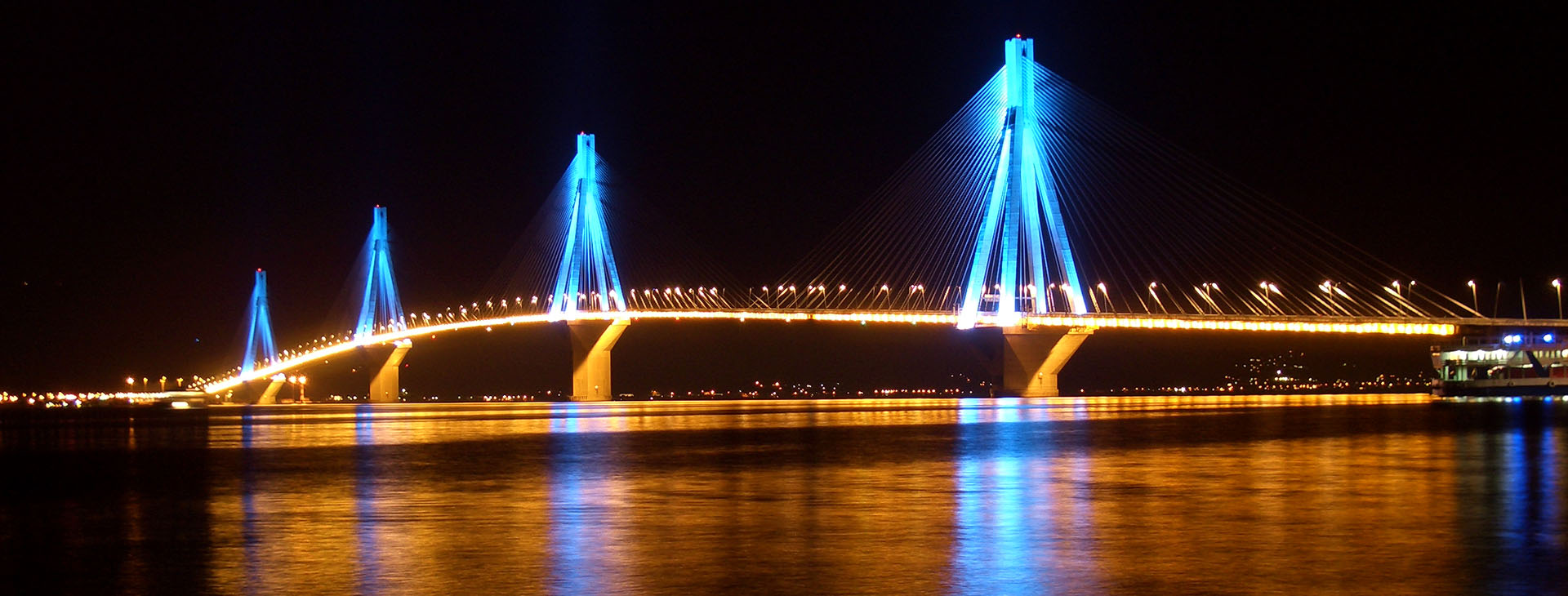 Rio-Antirio bridge by night, Ahaia